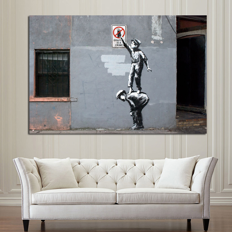 Banksy Graffiti Is A Crime Canvas Painting Poster Prints Marble Wall Art Painting Decorative Pictures Modern Home Decor HD Print in Painting Calligraphy from Home Garden