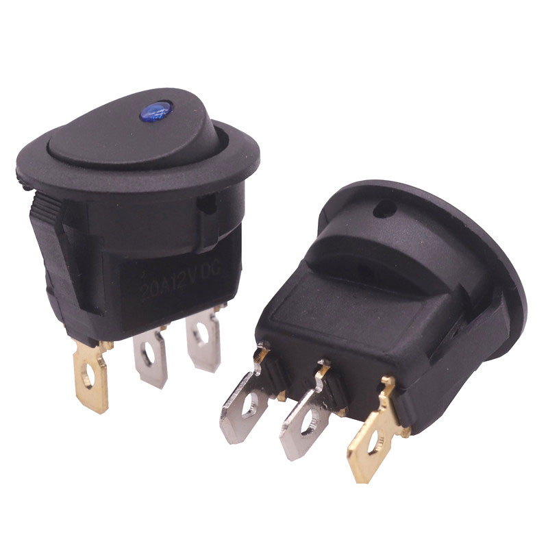10 Pcs 3 Pins With Blue Led Lights Switch 20A 12V DC 23 * 23 * 25mm Cat Eye Switch Electrical Switch Accessories Wholesale