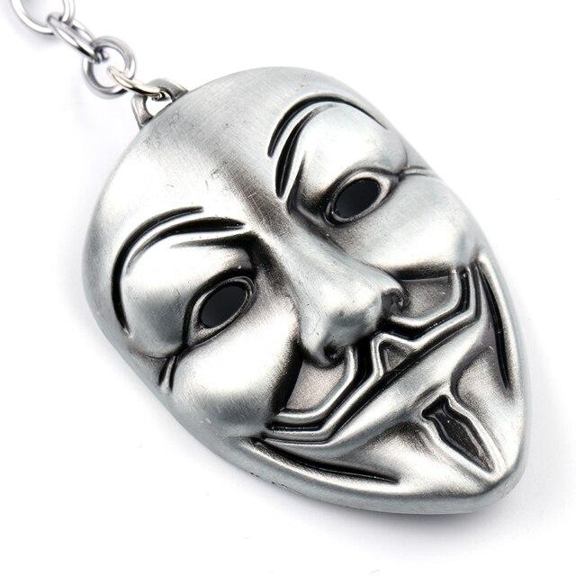 Chú hề V For Vendetta Keychain Anonymous GUY Mask Kim Loại KeyRing KeyChain Fob cho Nam Giới Phụ Nữ Trẻ Em Món Quà Giáng Sinh