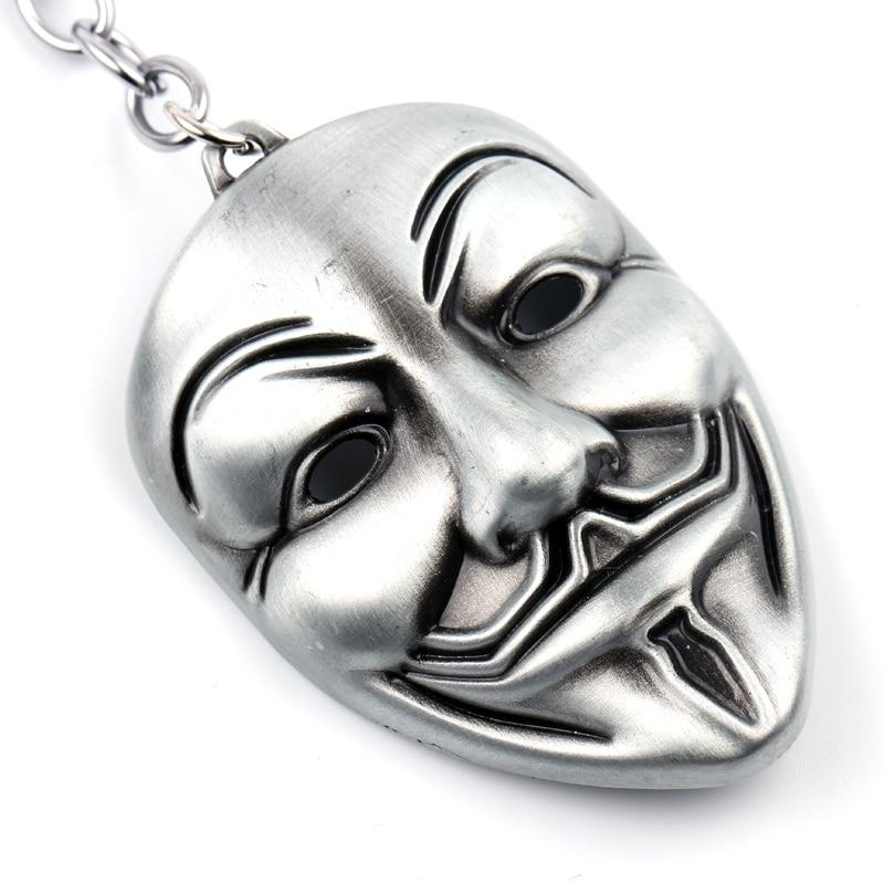 Clown V For Vendetta Keychain Anonymous GUY Mask Metal KeyRing KeyChain Fob For Men Women Kids Christmas Gift