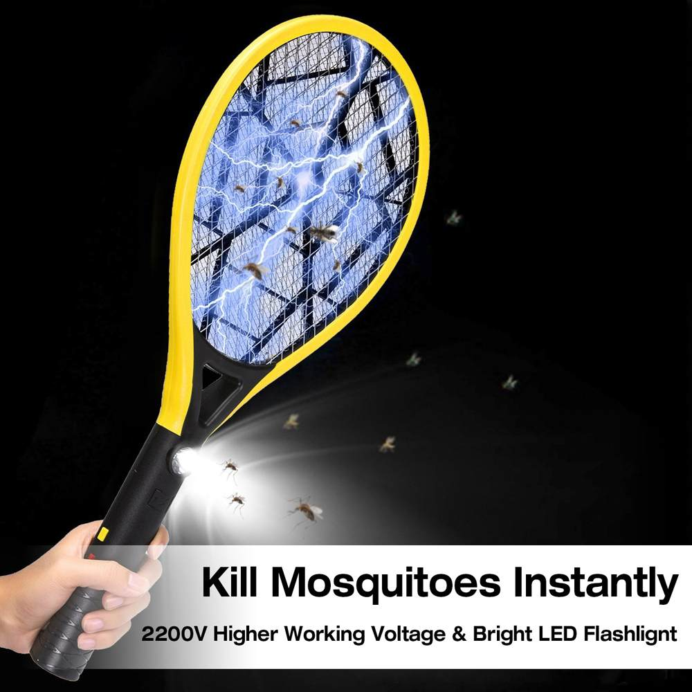Electric Fly Mosquito Racket 3 Layer Mesh Rechargeable Handheld Anti Insects Zapper Swatter Bug Swatter Killer With LED Light