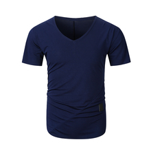 2019 summer patchwork desgin men short sleeve tshirt v-neck fashion t-shirt mens streetwear
