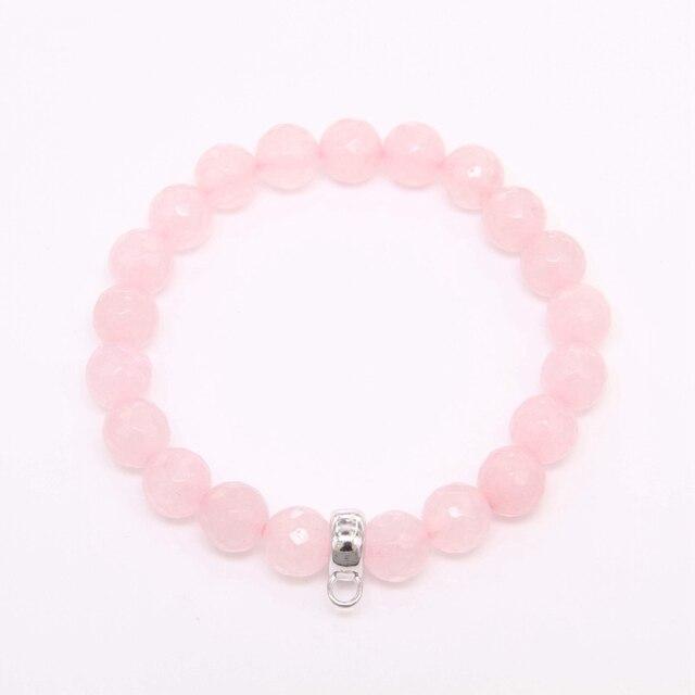Купить женский браслет с бусинами из кварца thomas style розовый ааа