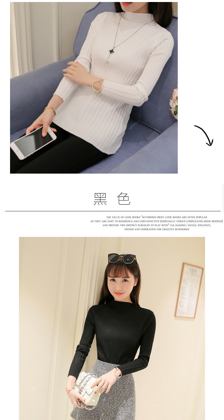 19 Autumn and winter New Korean Half turtleneck Sweater jacket Womens Long Sleeve Set head All-match knitted Sweater woman 24