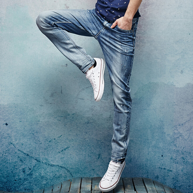 2017  New  spring cotton  casual  men jeans size 28 to 38  blue  stretch  Denim Slim Fit men jean for Man  Trousers Jeans  цена