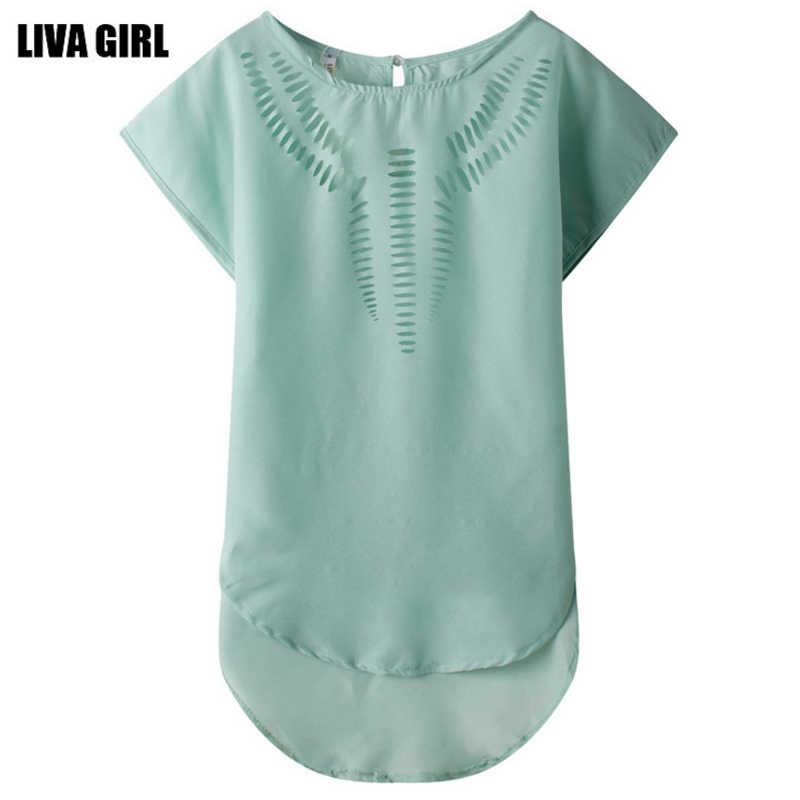 2018ファッション夏の女性ブラウス半袖女性緩いシフォンブラウスシャツ中空アウトブラウス女性トップスプラスサイズ2xl 50