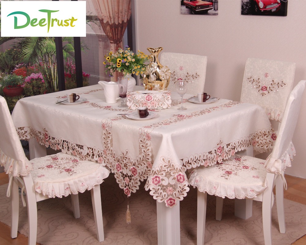 Table runner on round table - Pink European Lace Table Cloth Wedding Embroidery Polyester Square Round Rectangle Table Runner Wedding