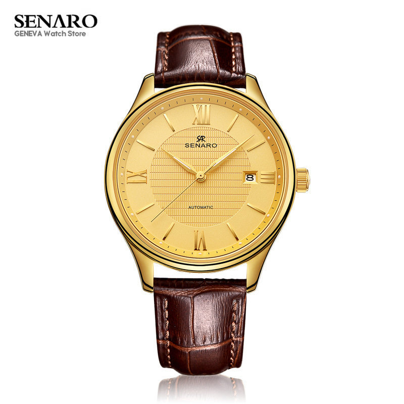 SENARO Luxury 40mm Men Watch Brown Cowhide Leather Band Auto Date Waterproof Mechanical Automatic Wristwatch Male Mens Watches