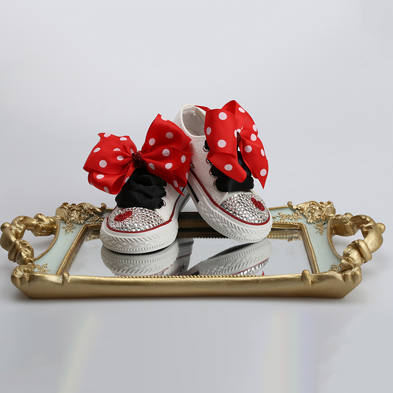 Image 2 - Dollbling ChildrenS Canvas Shoes Lace Bow Custom Hand Toe With Diamonds Low Canvas Casual Flat Shoe ChildrenS Sports ShoesSneakers   -