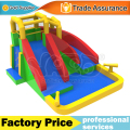 Dual curve slide inflatable water park home use with cannons