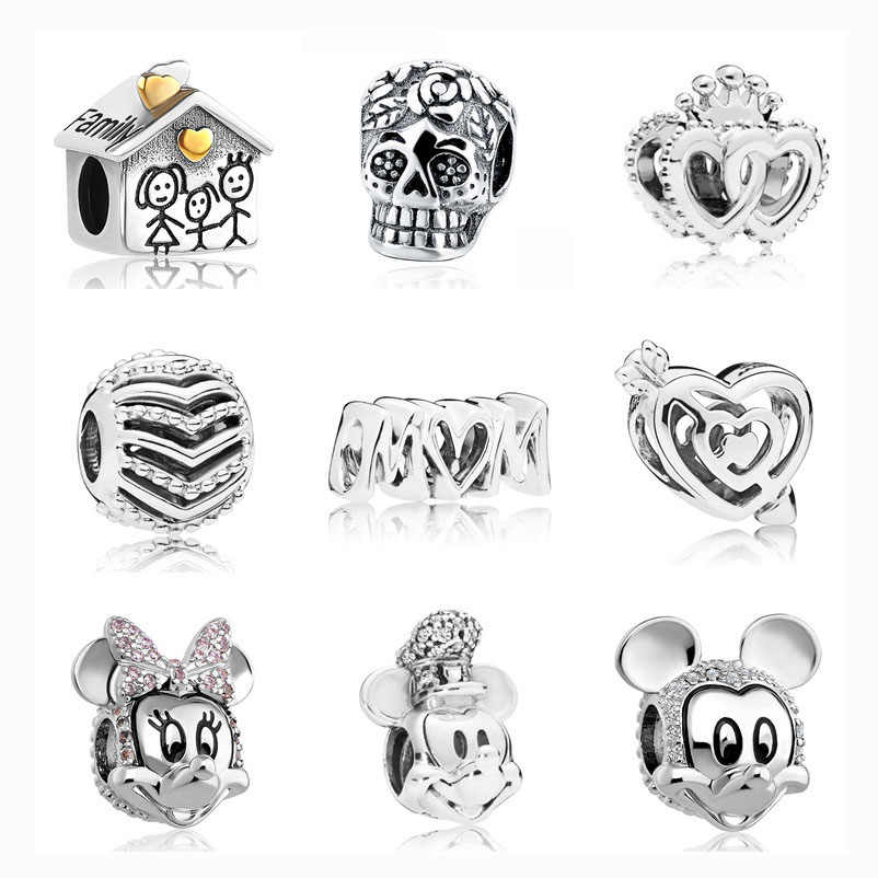 1pc european  silver family house skull crown cross heart mom mickey minnie diy bead fit pandora charm silver 925 original F002