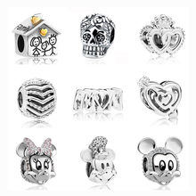 1 Pc Argento Europeo Casa di Famiglia Del Cranio Corona Croce Cuore Mamma di Mickey Minnie Perline Fai da Te Fit Pandora Charm in Argento 925 originale F002(China)