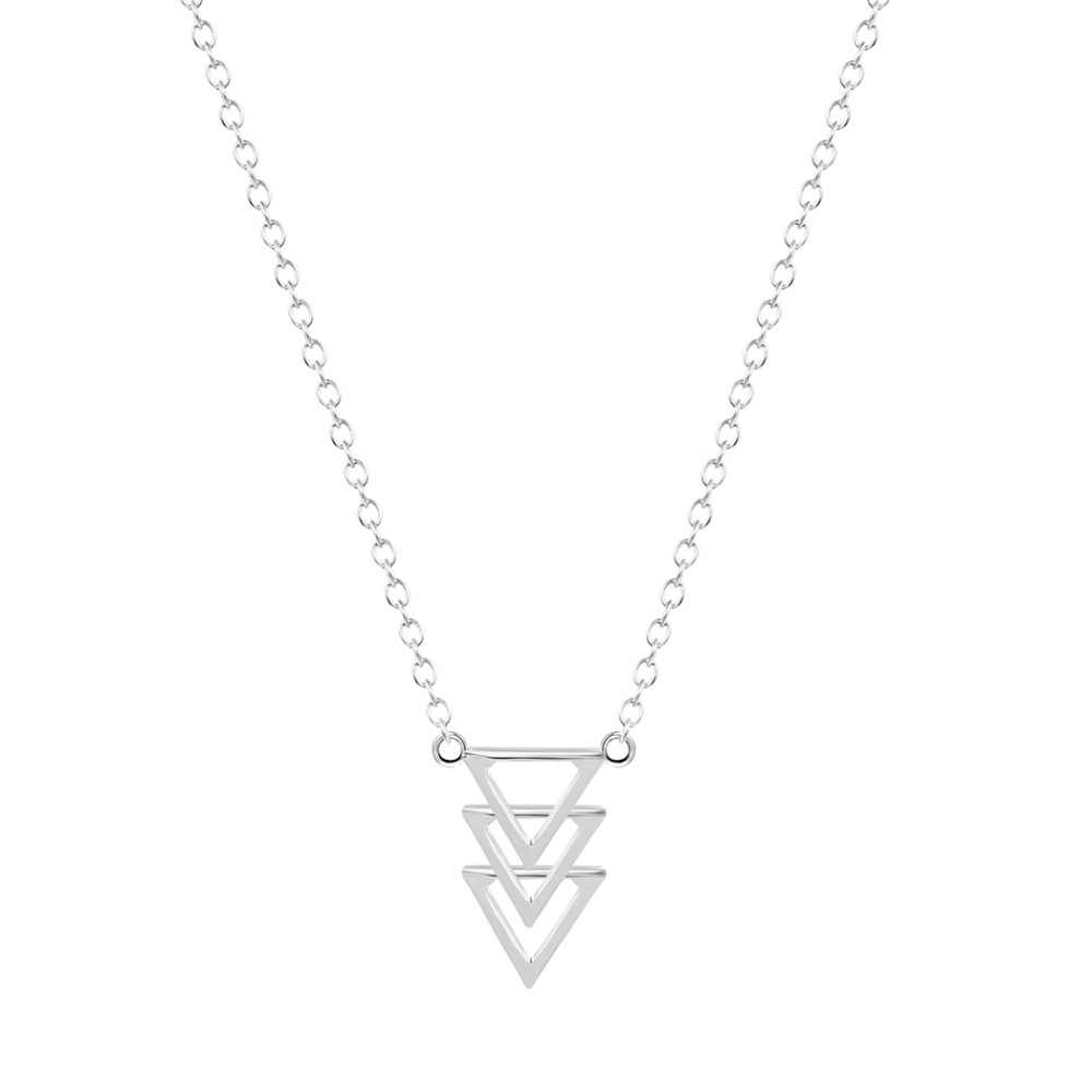 ファッションシンプルなユニークな 3 トライアングルペンダントネックレス女性女の子ミニマ宝石幾何ゴールドネックレス