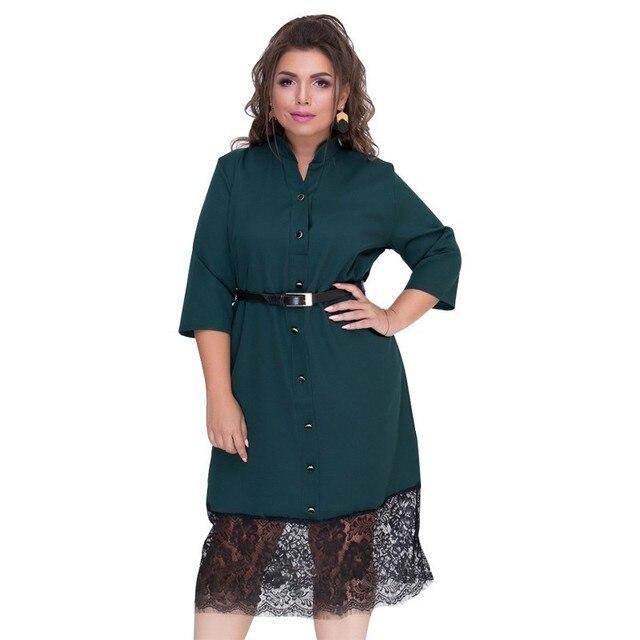 Elegant Women Dress Sexy Lace Christmas Party Dress Plus Size Winter Dress 5XL 6XL Black Office Shirt Dress Female 2018 Vestidos