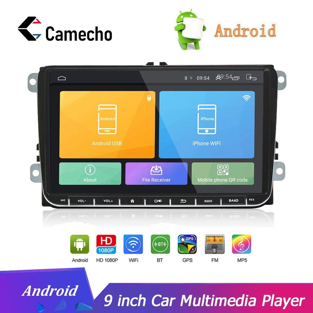 Autoradio Camecho Android 8.1 voiture GPS Navigation 9 ''Autoradio pour SKODA GOLF Golf 6 POLO PASSAT B5 B6 TIGUAN lecteur DVD BT RDS
