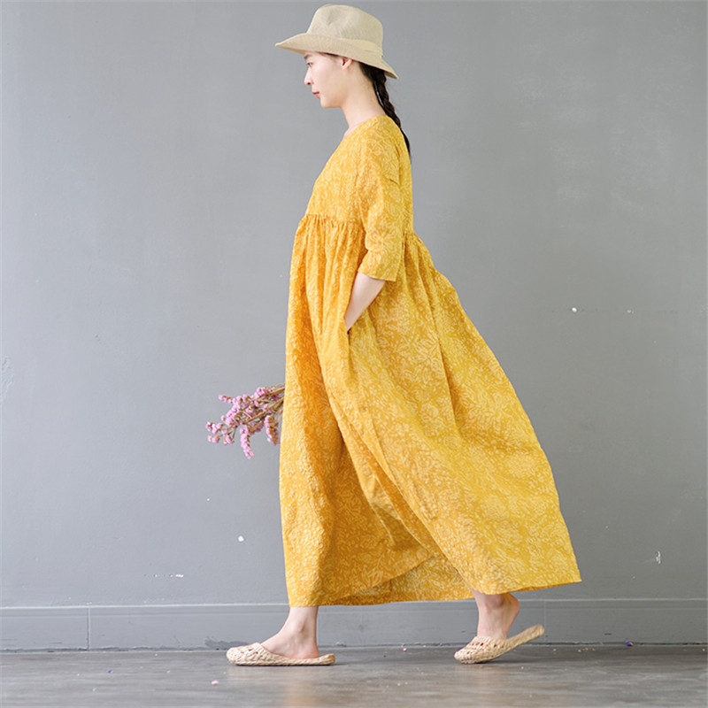 SCUWLINEN Vestidos 2019 Summer Clothes for Women Vintage Empire A line Cotton Maxi Dress Casual Loose Yellow Party Dress S377 in Dresses from Women 39 s Clothing