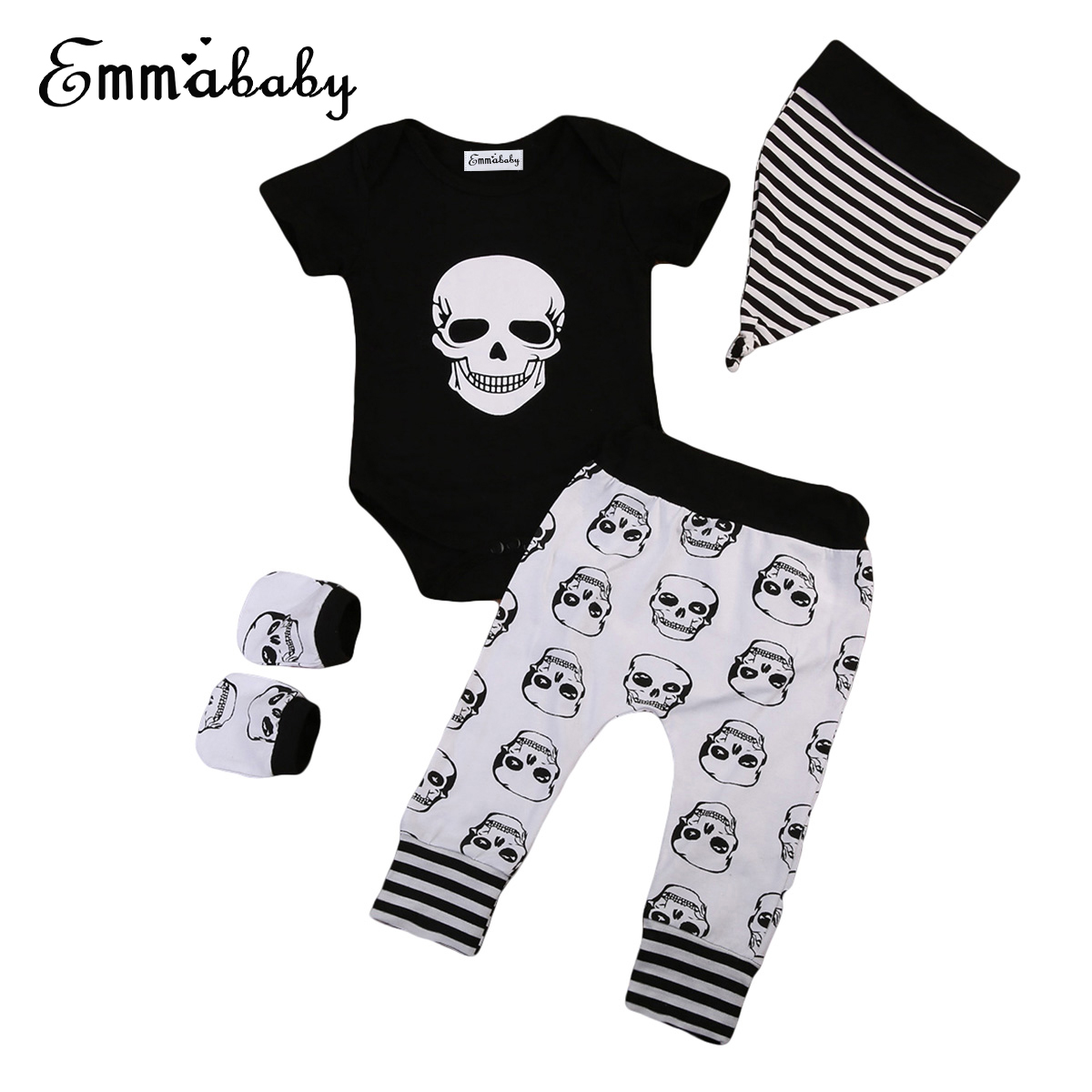 2018 new cute babies set Cotton Newborn Baby Boy Outfits Clothes Skull bodysuit print Pants Leggings lovely kid 4pcs outfit Set