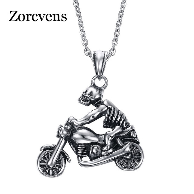 be934e8e18170 US $4.99 |ZORCVENS New Punk Men Skull Pendant Necklace Fashion Ghost Rider  Necklace Cool Skeleton Necklace Men Jewelry-in Pendant Necklaces from ...