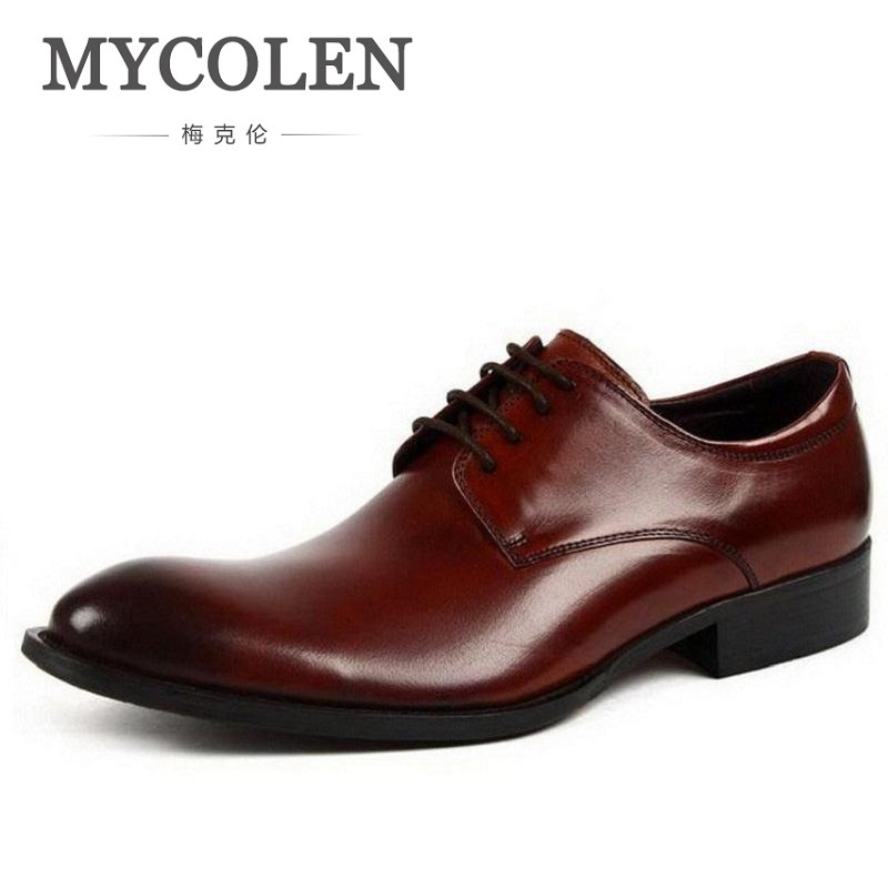 MYCOLEN Leather Mens Dress Shoes High Quality Breathable Oxford Shoes For Men Lace-Up Business Brand Men Wedding Shoes цена