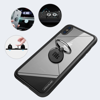 2 In 1 Metal Finger Ring Holder Smartphone Finger Stand Holder Tempered Glass Case Protective Cover