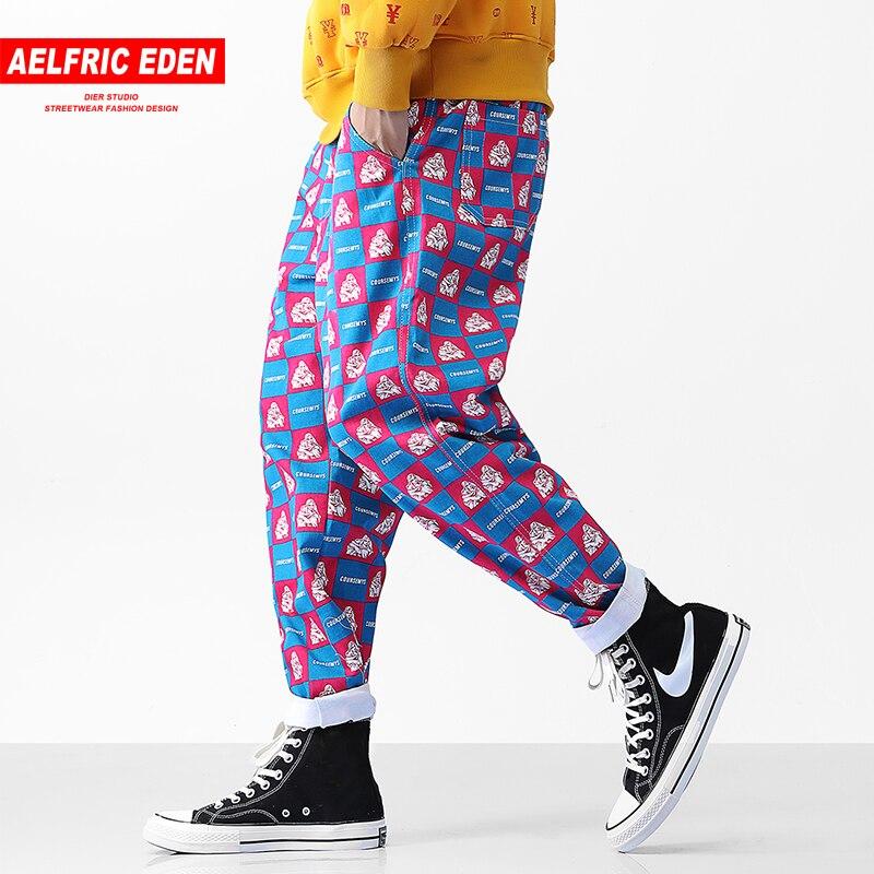 6186fec20ae5f Detail Feedback Questions about Aelfric Eden Plaid Print Girl Pattern  Fashion Hip Hop Harem Pants Men 2018 Autumn Joggers Swag Streetwear Casual  Sweatpants ...