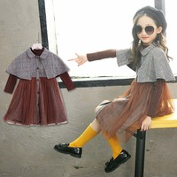Teenager New Girls Clothing Suit Long Sleeve Solid T Shirt + Fake Tippet Yarn Dress 2 Pcs Set Kids Autumn Suit 4 14 Years