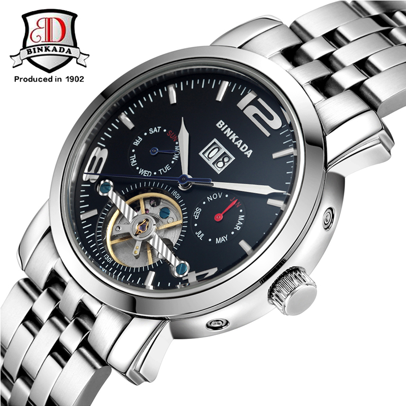BINKADA Mechanical Watch Men Stainless Steel Business Waterproof Wristwatch Sapphire Fashion Luxury Man Clock Orologio Uomo fashion 40mm pranis silver dial full stainless steel sapphire glass automaic self wind mechanical men s business watch