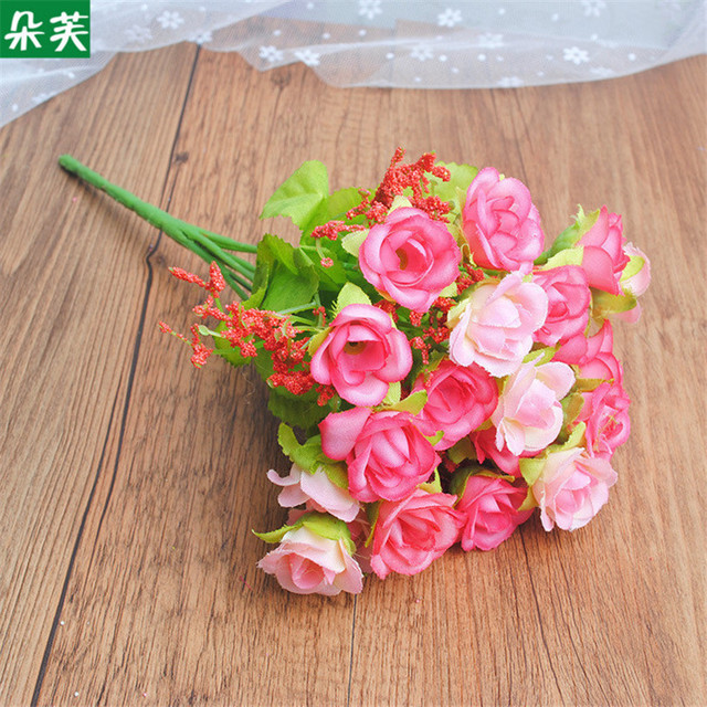 Artificial Flowers Diamond rose Silk Fake Flower Decoration living ...