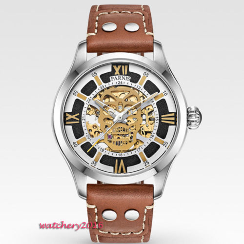 45mm Parnis Hollow Dial Sapphire Glass Luminous Marks Luxury brand Miyota Automatic movement men's Watch luxury brand 42mm parnis white dial sapphire glass miyota automatic movement men s watch