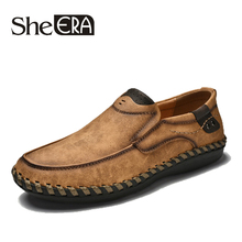 She ERA New Men's Flats Brand Casual Mens Loafers Shoes Mocassim Masculino Split Leather Men Shoes Male Sapatos Chaussure Homme цена