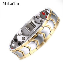 MiLaTu Titanium Healthy Bracelets & Bangles For Men Bio Energy Magnet Therapy Bracelet Male Jewelry High Quality B225