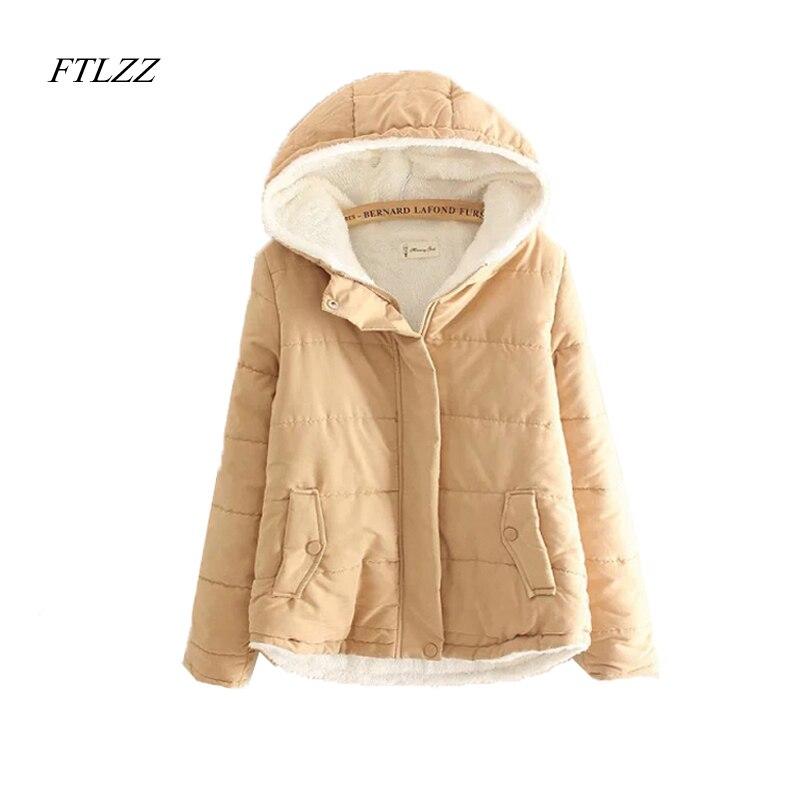 FTLZZ New Autumn Winter Slim   Parkas   Jacket Woman Casual Small Fresh Keep Warm Solid Hooded Cotton   Parkas   Coat Women