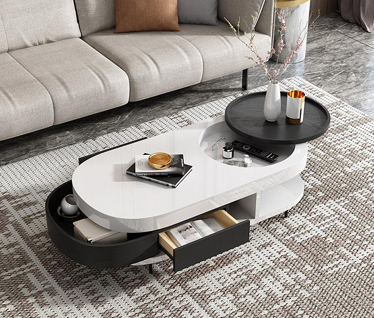 Modern simple tea tray small family personality black and white tea table combination furniture creative fashion oval table.