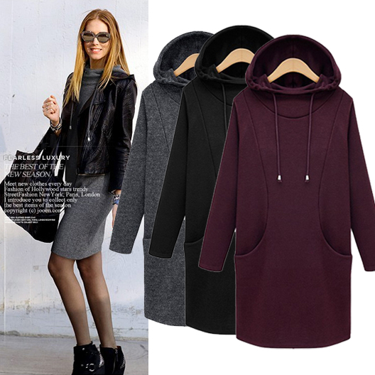 5252c17e fashion free shipping S to 4XL plus size women hoodie winter sudaderas  mujer long hoodie dress lady outwear black wine red grey-in Hoodies &  Sweatshirts ...