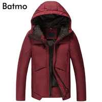 Batmo 2017 new winter keep warm White duck down hoody casual jacket men,M,L,XL,2XL,3XL, navy blue&wine winter coat men B27