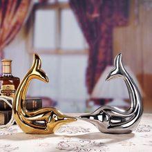gold silver ceramic dolphin home decor crafts room decoration handicraft ornament porcelain animal figurine wedding