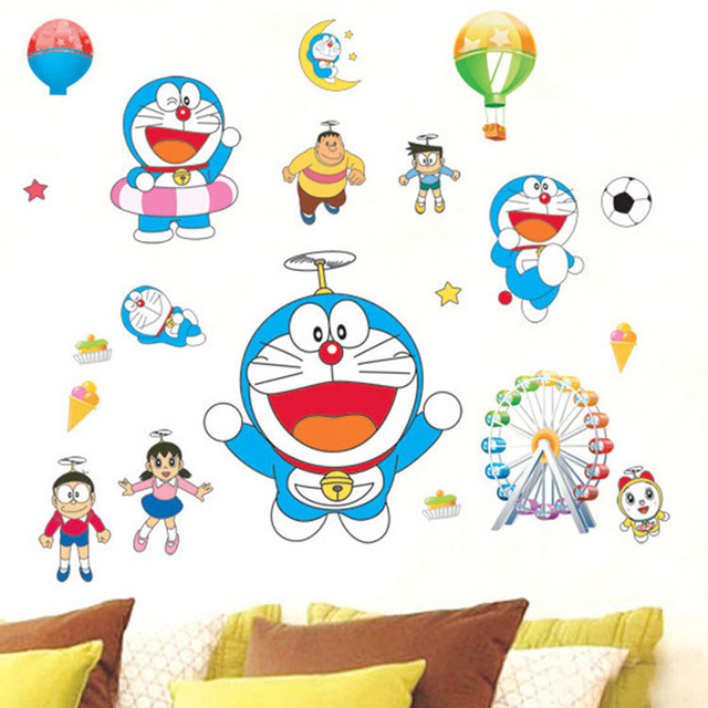 Simple Car Refrigerator Cartoon Doraemon Pvc Removable Children