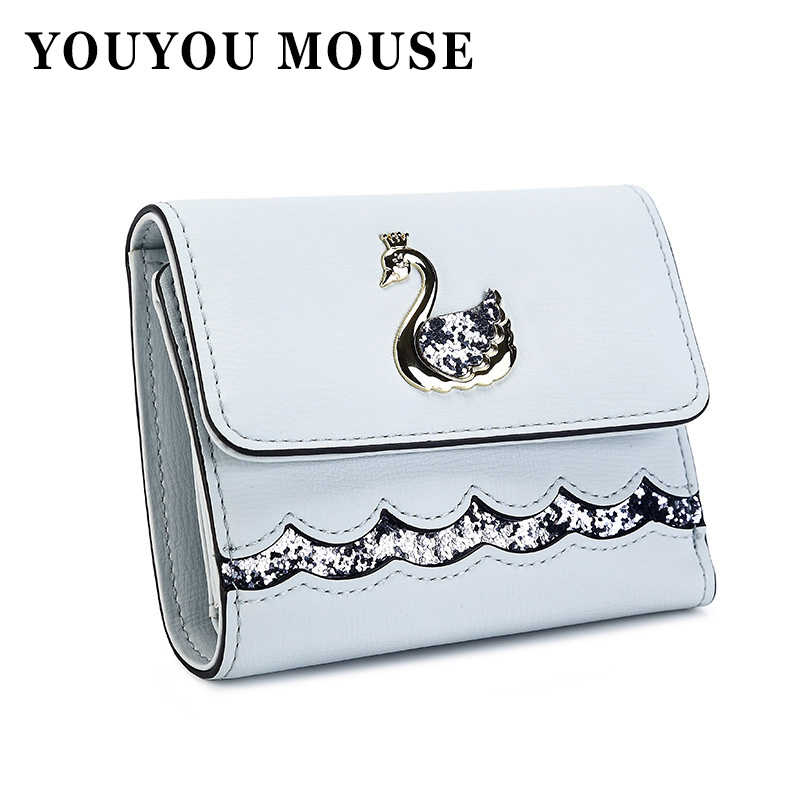 YOUYOU MOUSE Cute Swan Metal Pattern Women Wallets 3 Folds Short Ladies Clutch Money Bag Purse PU Leather Card Holder Wallet women wallets hello kitty bag purse leather long women s purse coin money bag ladies clutch bag card holder sac bolsas feminina