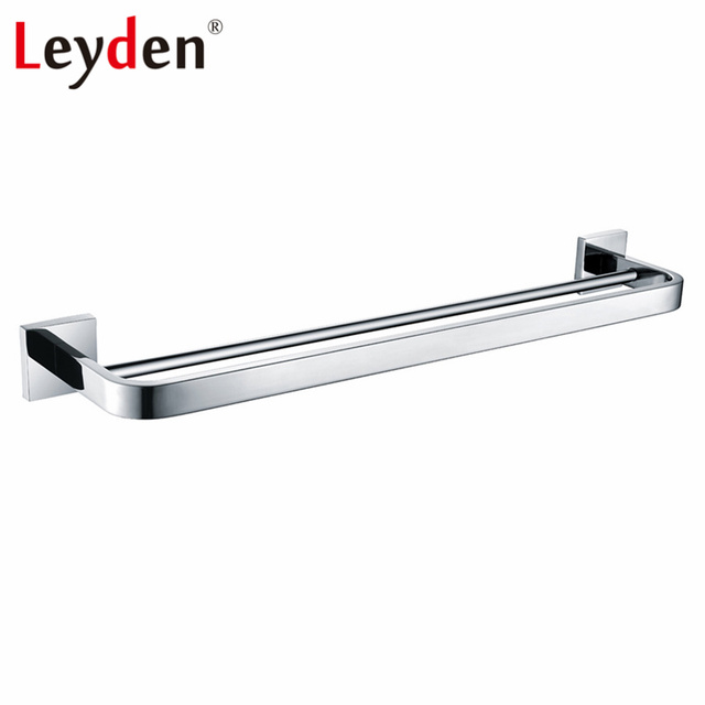 Leyden Stainless Steel Polished Chrome Double Towel Bar Holder Wall Mounted Rounded Style Rack
