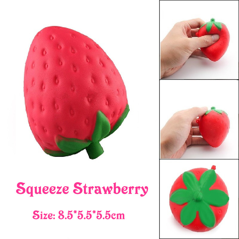 Squishy Strawberry Cheap Slow Rising Squeeze Phone Strap Charm Pendant Squishes Simulation Soft Scented Kid Toy Gift Collections