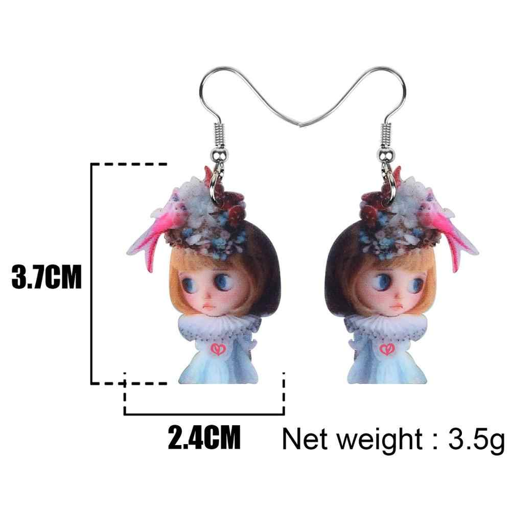 Bonsny акриловые светлые платья девушки серьги-подвески в форме капли Шпилька Модные милые ювелирные изделия для женщин подростков влюбленных подарок украшения