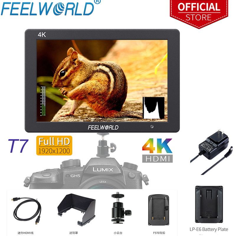 Feelworld 7 Inch IPS 1920x1200 4K Monitor HDMI Camera Field Monitor Solid Aluminum Housing with Peaking Focus for Sony Nikon T7