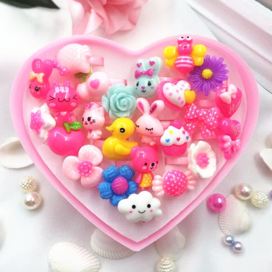 24pcs Cute Cartoon Rings Toys For Baby Girls Pretend Play Game Colorful Kids Beauty Fashion Birthday Party Gift Kawaii