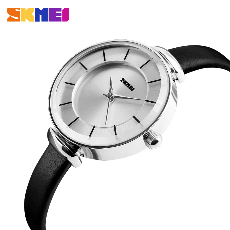 SKMEI Elegant Slim Girl Quartz Watch Top Brand Leather Women Watches Ladies Business Wristwatch Relojes Mujer Hot Clock 1184 excellent quality hot sale fashion vintage leather bracelet watches women wristwatch ladies quartz watches clock relojes mujer