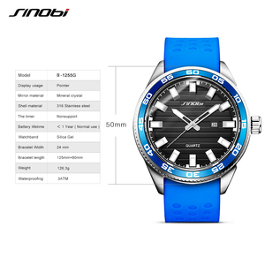 Image 4 - SINOBI 316 Stainless Steel Mens Sports Watches Luxury Brand Silicone Waterproof Men Military Watch Quartz Relogio Masculino