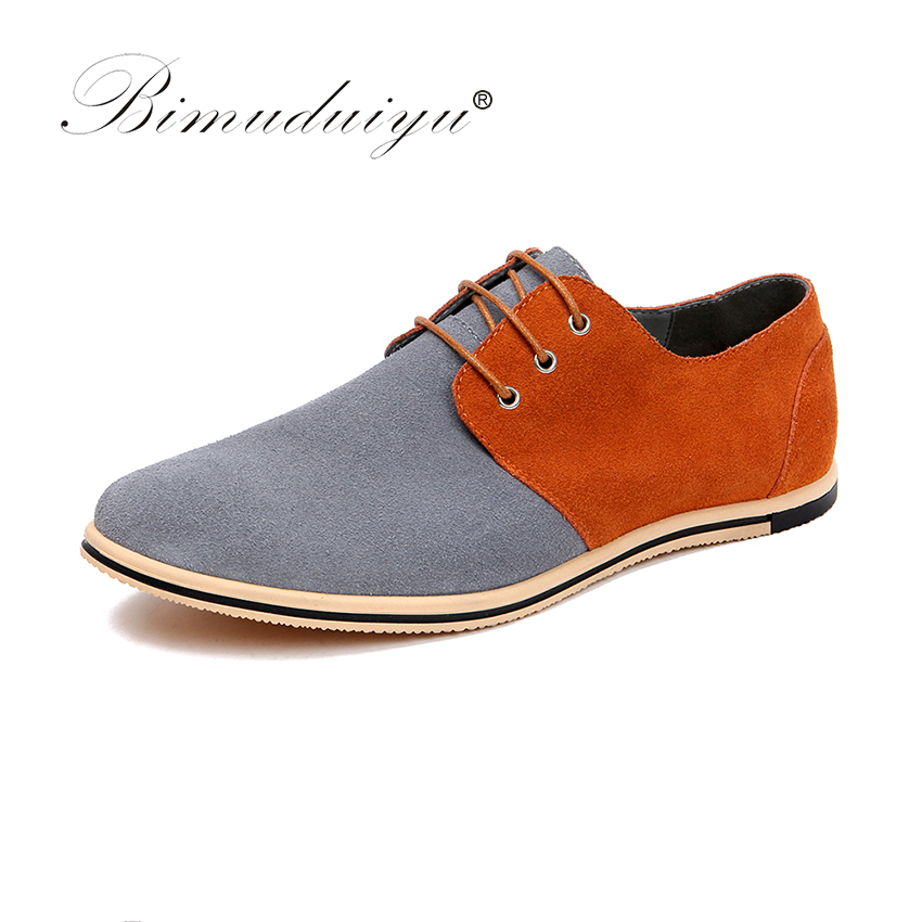 BIMUDUIYU New Pattern Big Size 49 Fashion Design Mixed Colors Real Suede Leather Men Casual Shoes Formal Dress Flat Oxford Shoes