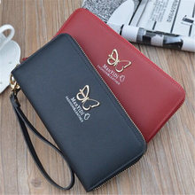 New Women PU Purse Butterfly Wallets Long Ladies Colorful Wallet Red Clutch Multi Card Holder Coin Bag Female Zipper Wallet цена в Москве и Питере
