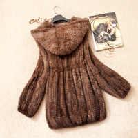 Frauen Echte Gestrickte Nerz Mantel Jacke Aufflackernhülse Winter Frauen Pelz Hoody Mantel Oberbekleidung Mäntel 3XL 4XL VK1368