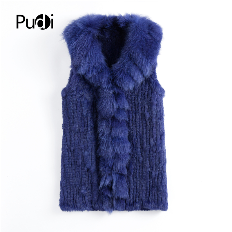 VT901 Pudi 2019 autumn fashion Women genuine rabbit fur vest with real fox fur collar long
