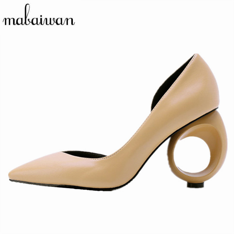 Mabaiwan Strange Heel Women Pumps Pointed Toe High Heels Design Wedding Dress Shoes Woman Zapatos Mujer Stiletto Valentine Shoe
